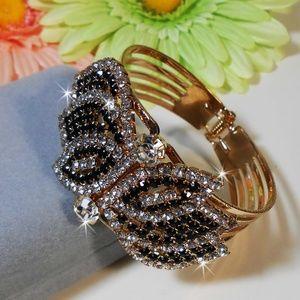 Black Onyx & CZ Hinged Crystal Bangle Bracelet D